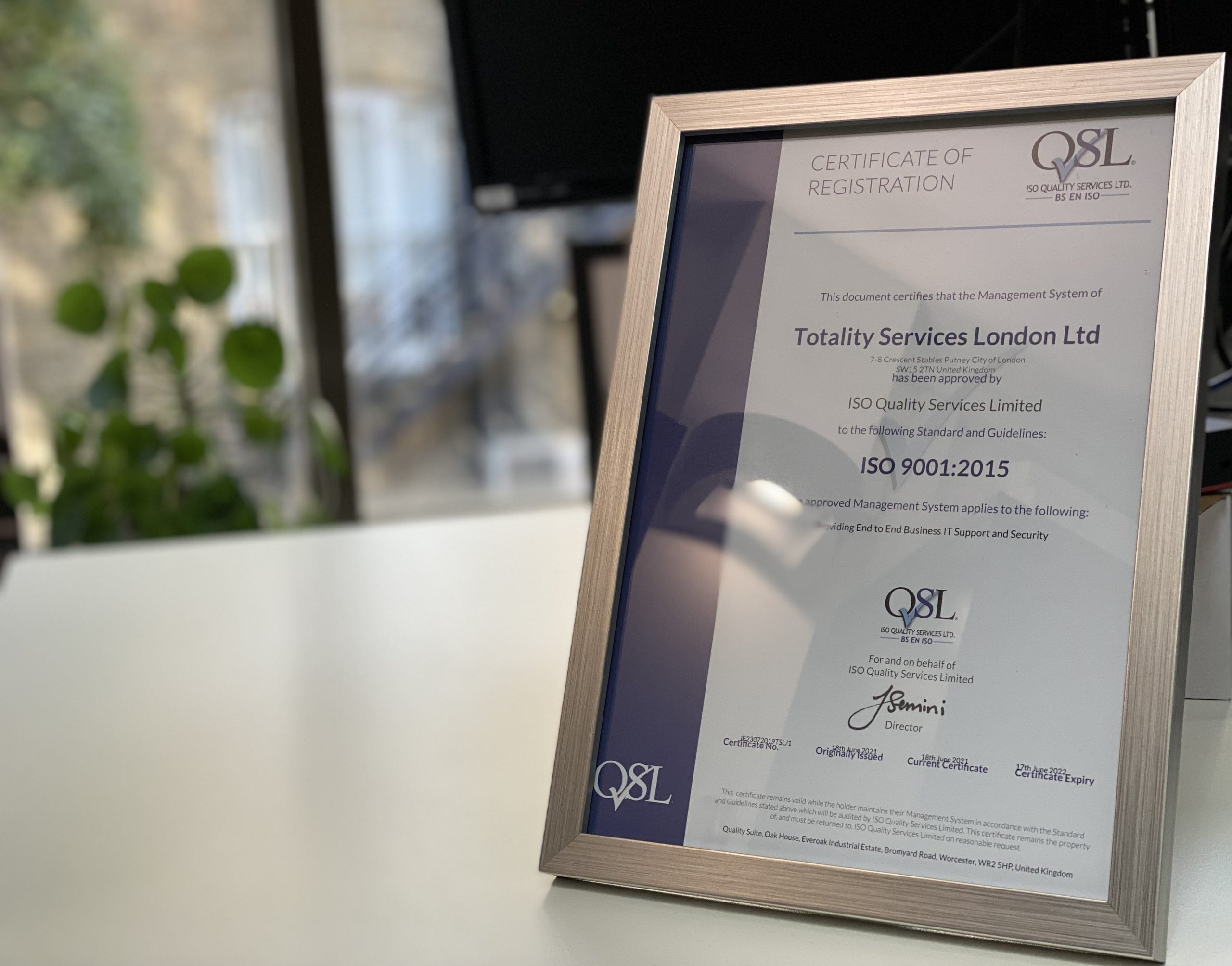 totality services Awarded ISO 9001 Quality Management Certification